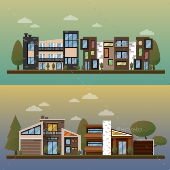 Vector Flat Illustration Of Two Family House - Buildings Objects