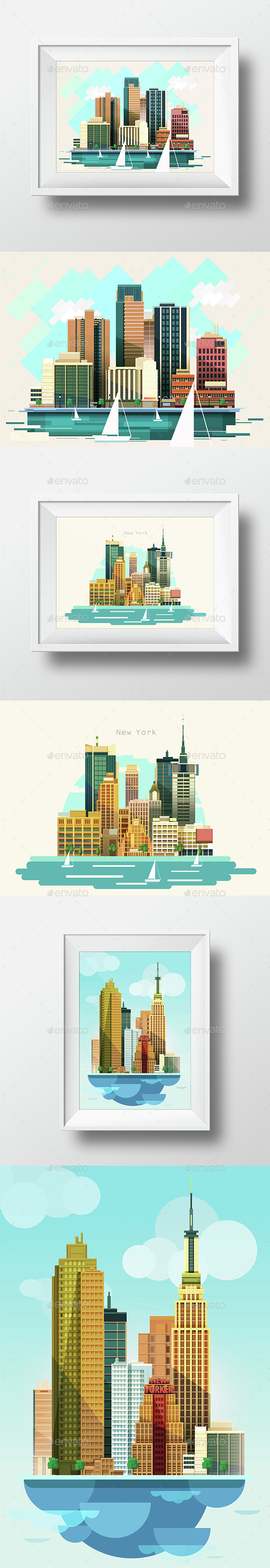 3  City Landscape Flat Style - Travel Conceptual