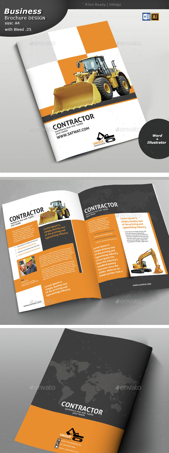 Construction Brochure Design  - Brochures Print Templates