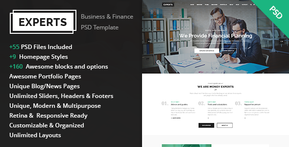 Experts – Business and Finance PSD Template