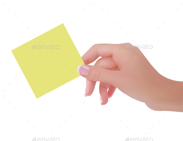Hand Holding Notepaper - Business Conceptual