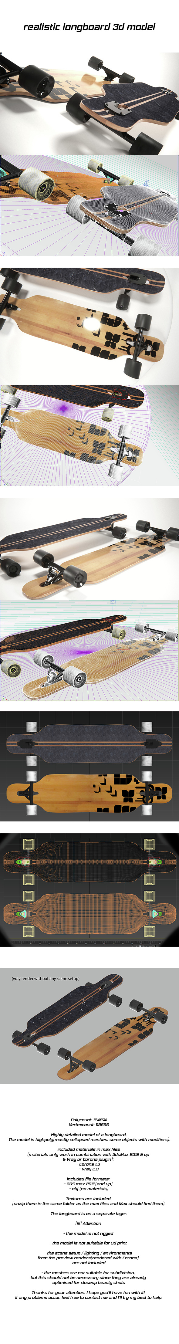 realistic longboard - 3DOcean Item for Sale