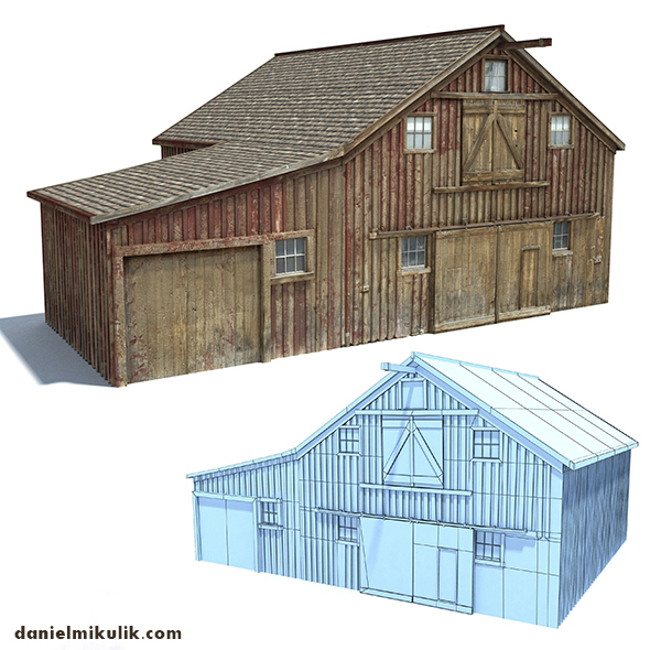 Low Poly Wild West Barn - 3DOcean Item for Sale
