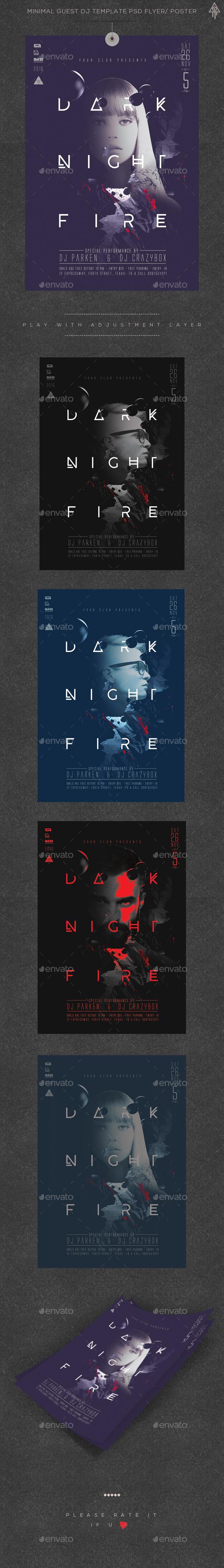 Minimal Dark Night Guest Dj Poster / Flyer - Clubs & Parties Events