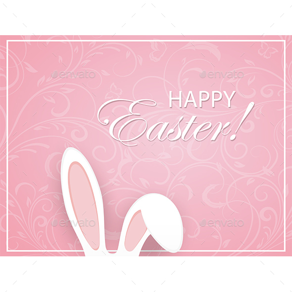 Pink Easter Background with Ornament and Rabbit Ears - Animals Characters