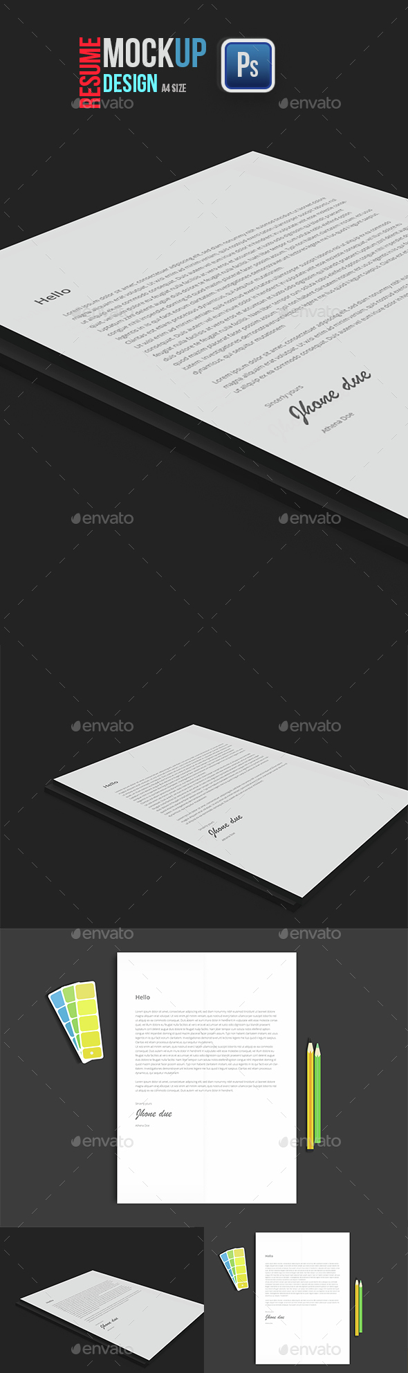 Resume A4 Mockup - Product Mock-Ups Graphics