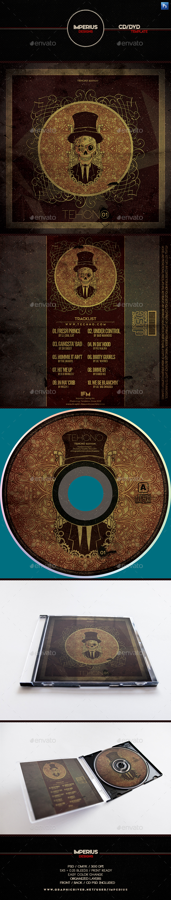 Techno CD/DVD Cover - CD & DVD Artwork Print Templates