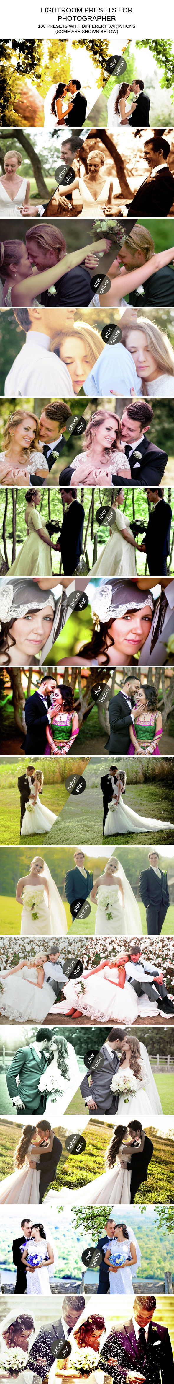 100 Professional Lightroom Presets - Wedding Lightroom Presets