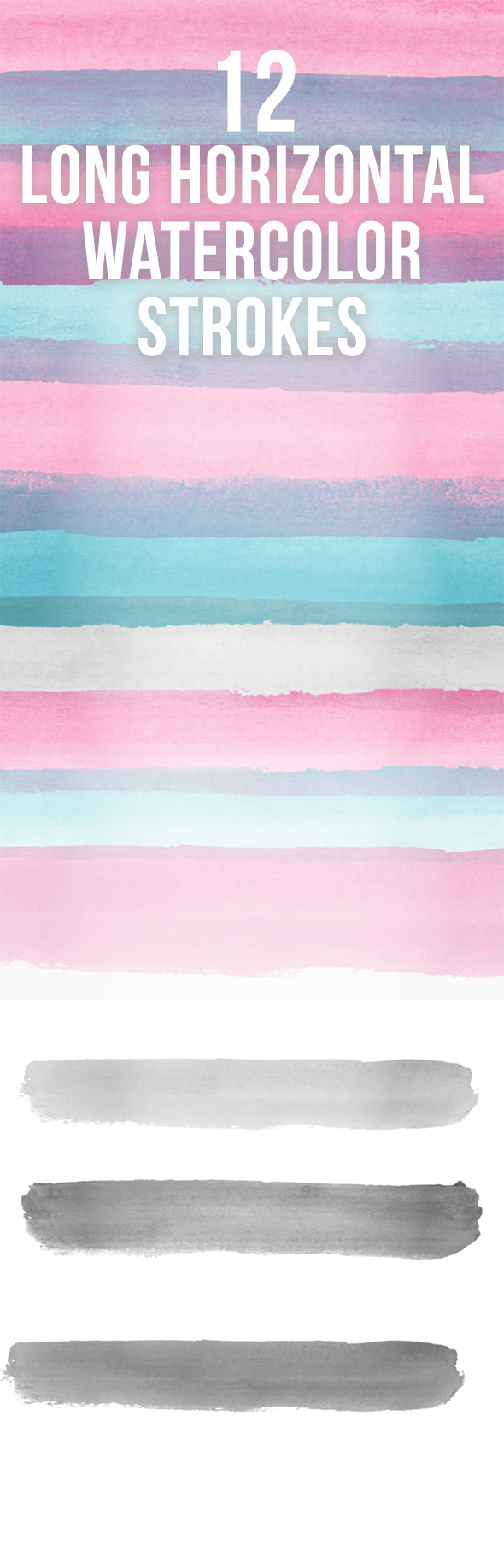Soft Long Hi-Res Watercolour Strokes - Abstract Brushes