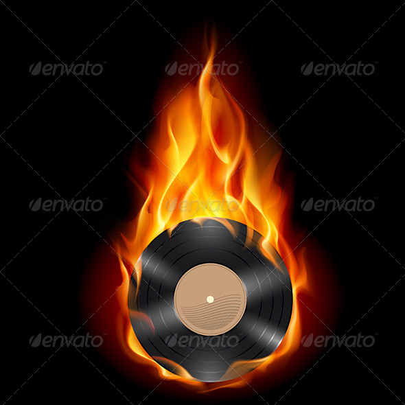 Vinyl record burning symbol - People Characters