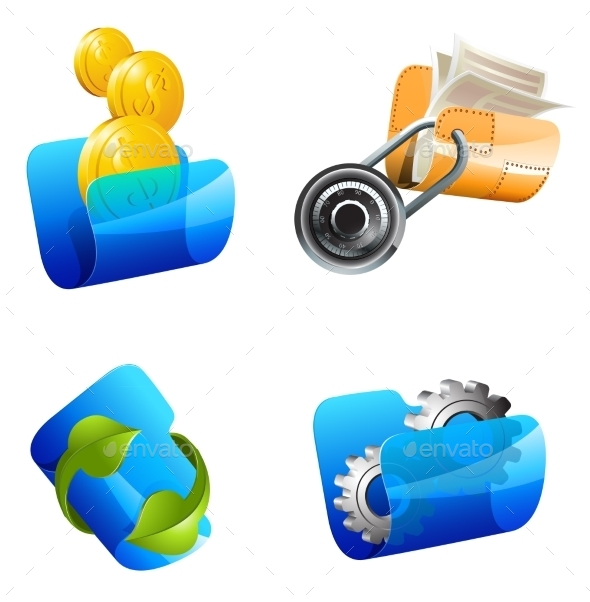 Folders Vector Illustration - Business Icons