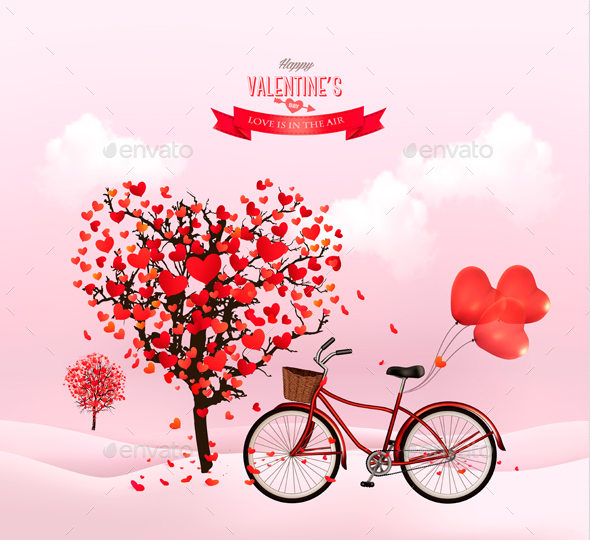 Valentines Day Background with a Heart Shaped Tree - Valentines Seasons/Holidays