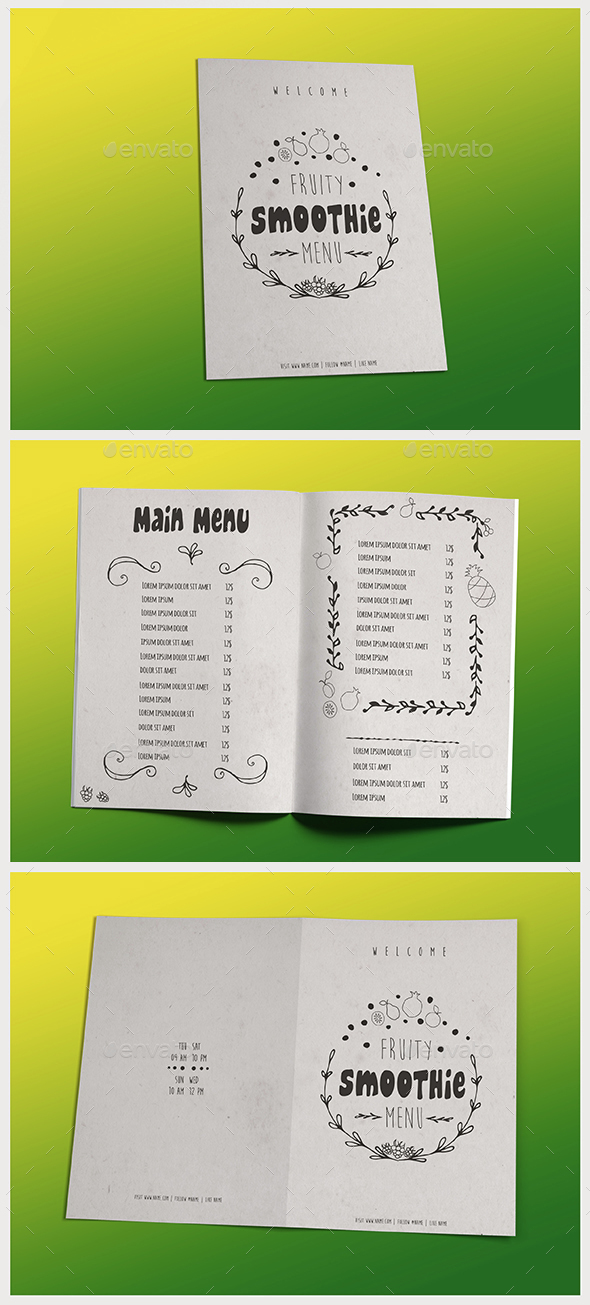 Smoothie Menu II - Food Menus Print Templates