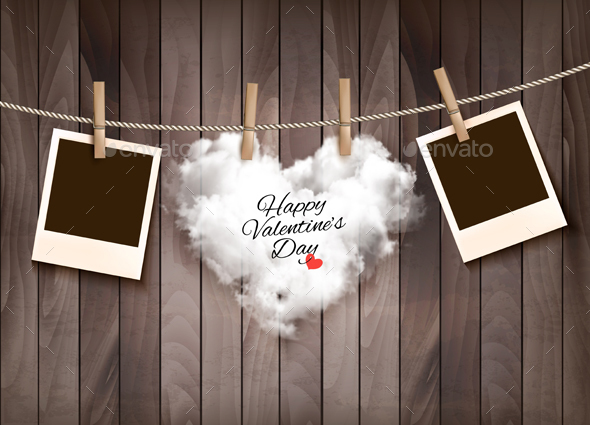 Heart Shaped Cloud on Rope and Photos - Valentines Seasons/Holidays