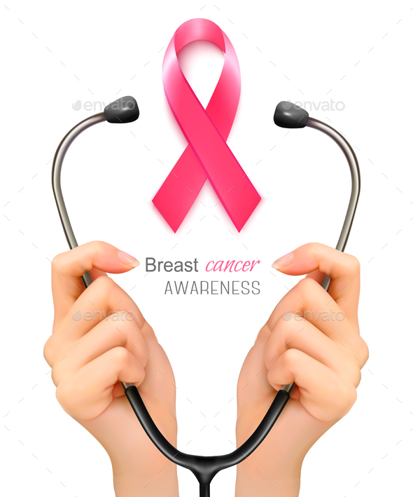 Stethoscope with a Breast Cancer Awareness Ribbon - Health/Medicine Conceptual