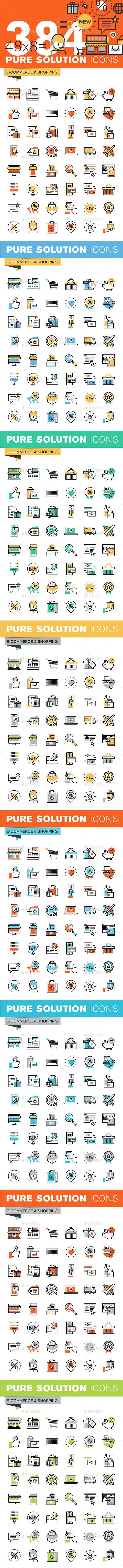 Set of Thin Line Flat Design Icons of E-Commerce and Shopping - Icons