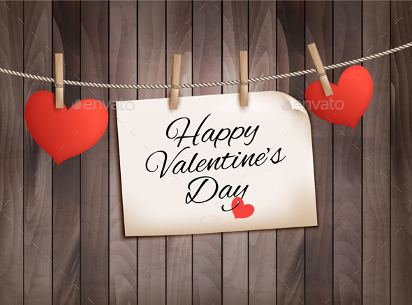 Happy Valentines Day Background with Hearts - Valentines Seasons/Holidays