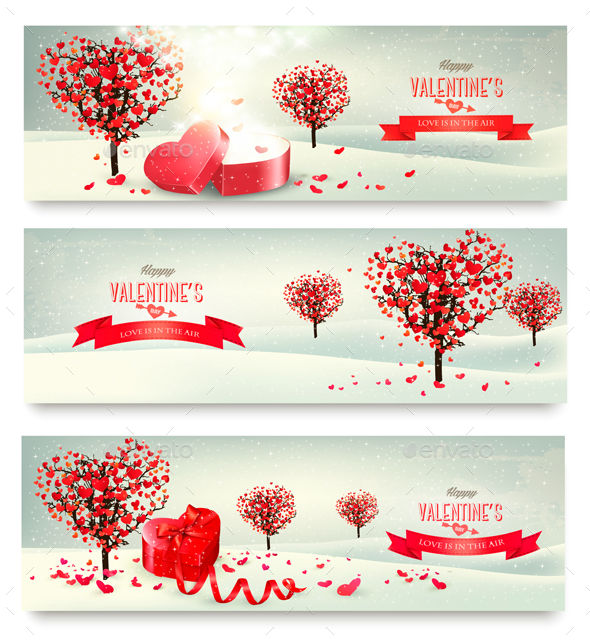 Holiday Retro Banners Valentine Trees with Heart-Shaped Leaves - Valentines Seasons/Holidays