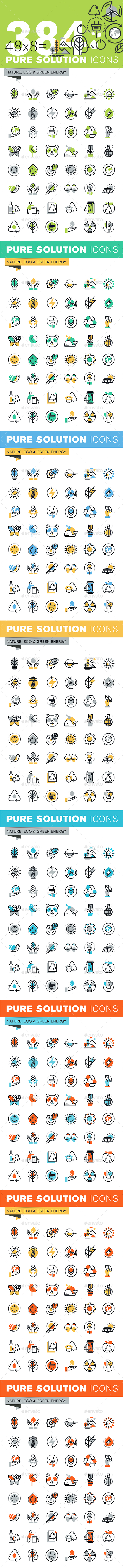 Set of Thin Line Flat Design Icons of Environment and Green Technology - Icons