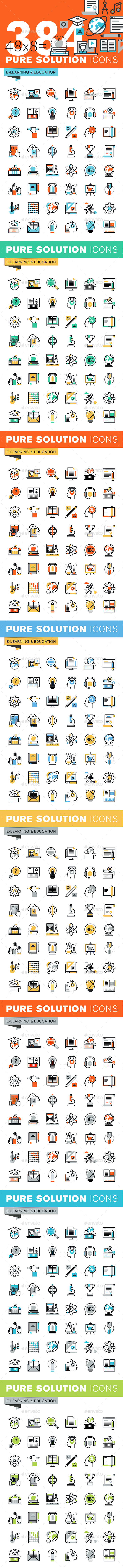 Set of Thin Line Flat Design Icons of Education - Icons