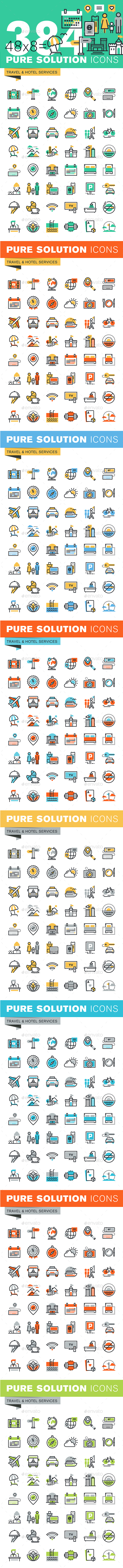 Set of Thin Line Flat Design Icons of Travel and Tourism - Icons