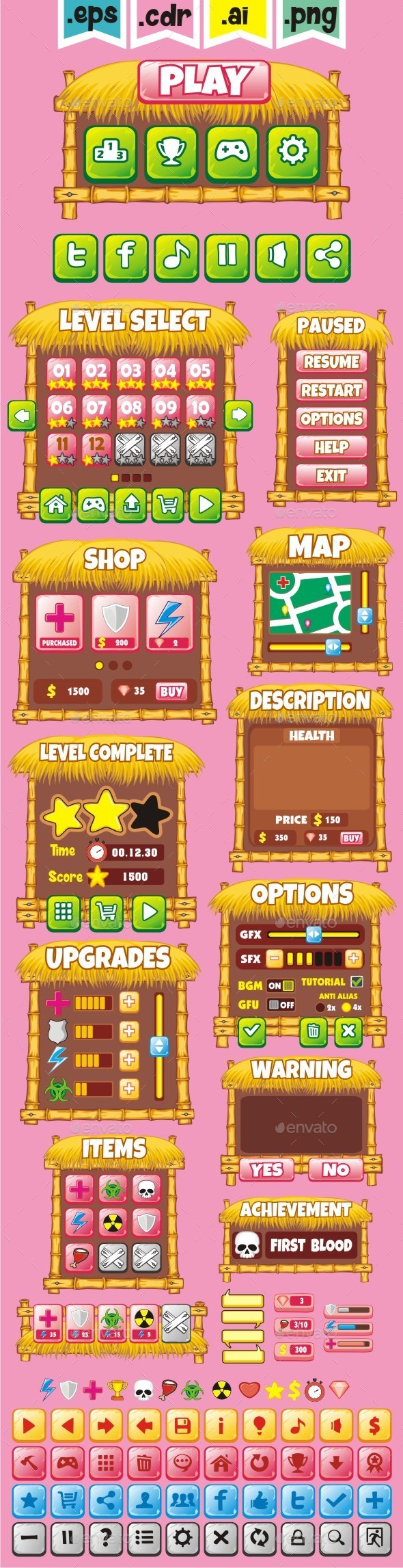 cartoon game gui pack 29 - User Interfaces Game Assets