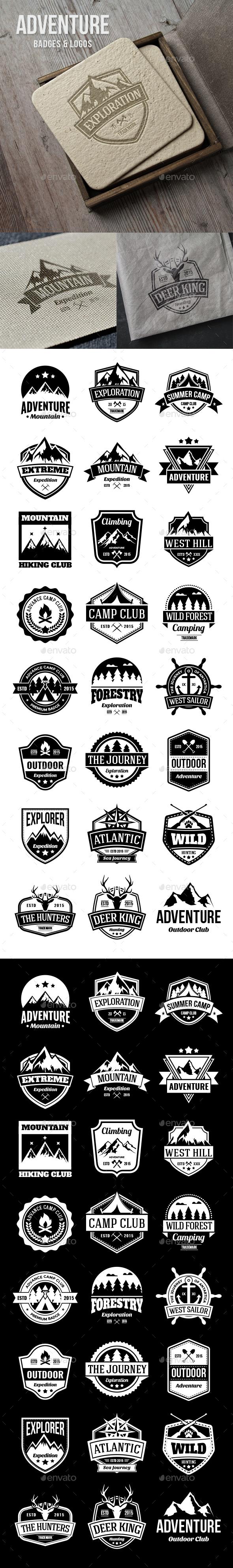 24 Adventure Badges - Badges & Stickers Web Elements