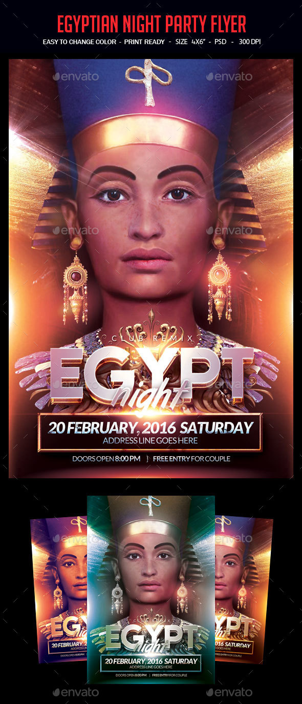 Egyptian Night Party Flyer - Clubs & Parties Events