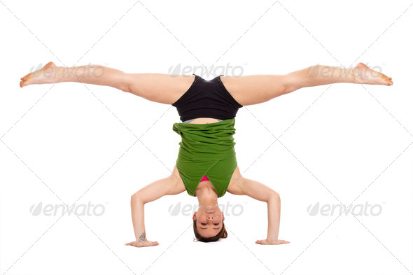 woman doing inverted split - Stock Photo - Images