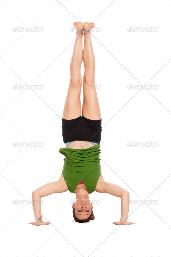 woman doing headstand - Stock Photo - Images