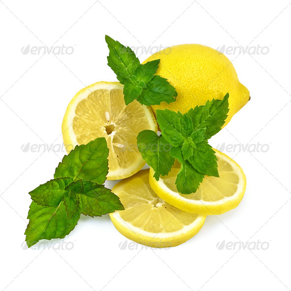 Lemons with mint - Stock Photo - Images