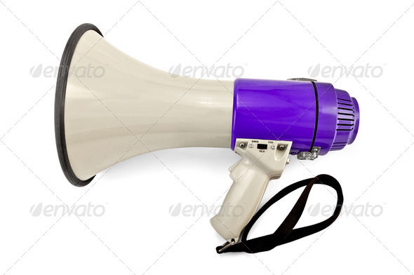 Megaphone gray and lilac - Stock Photo - Images