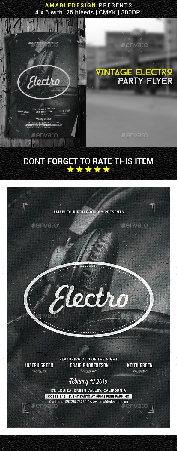 Vintage Electro Party Flyer - Clubs & Parties Events