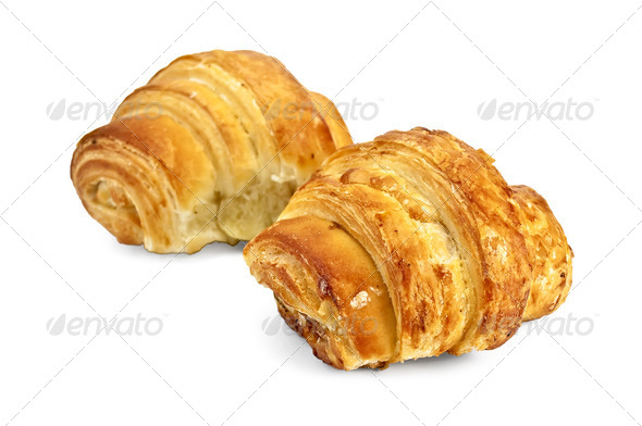 Two golden croissant - Stock Photo - Images
