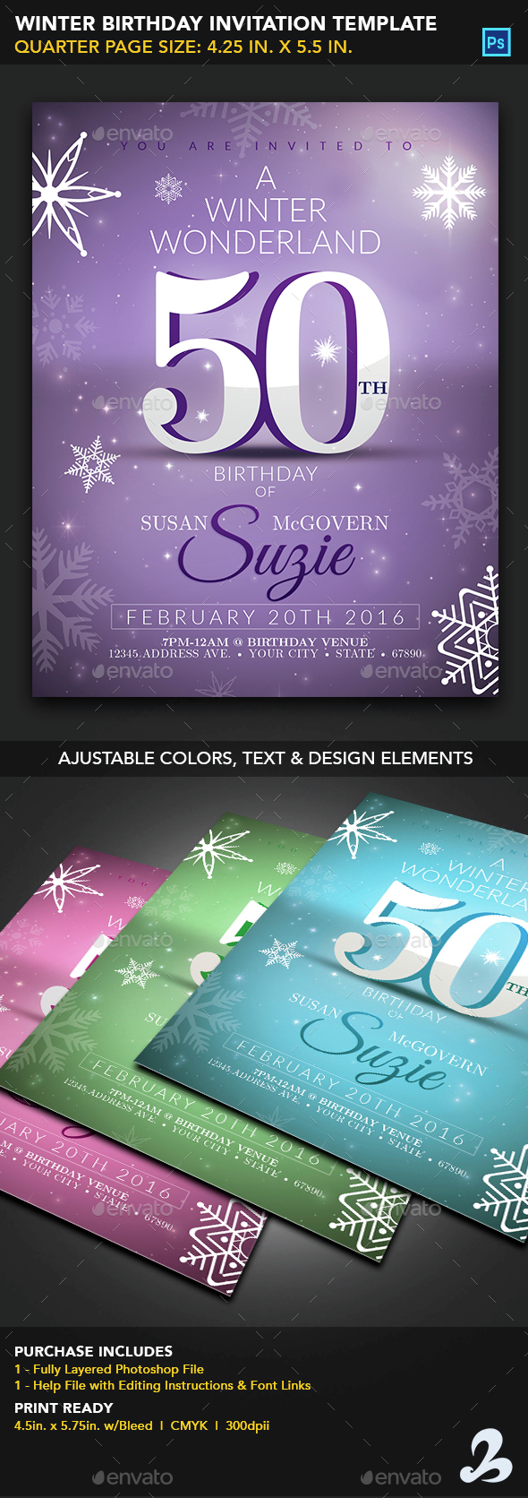 Winter Birthday Invitation Template  - Invitations Cards & Invites