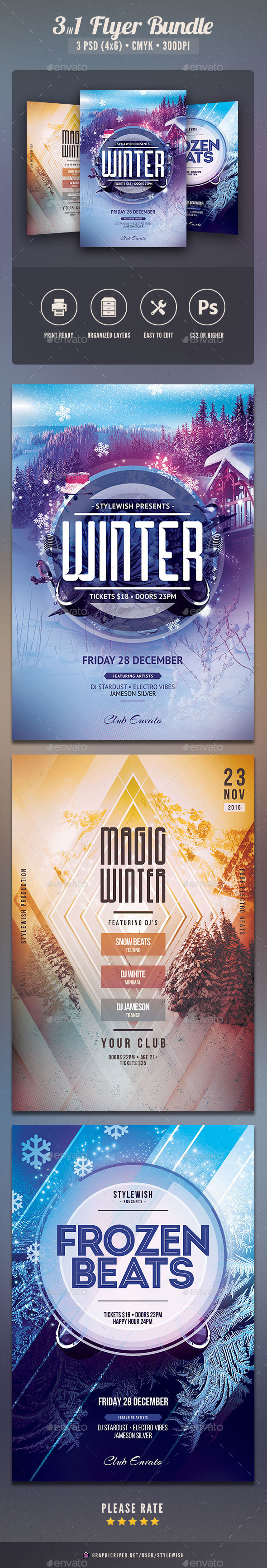 Winter Flyer Bundle Vol.01 - Clubs & Parties Events