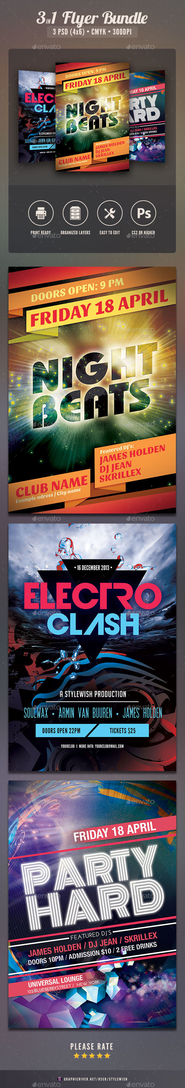 Party Flyer Bundle Vol.23 - Clubs & Parties Events