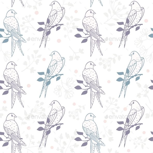 Swallows Seamless Pattern - Backgrounds Decorative