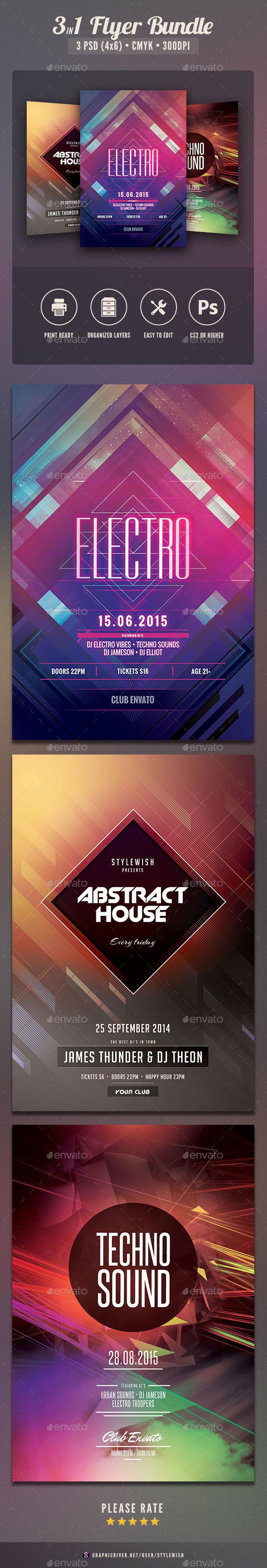 Geometric Flyer Bundle Vol.06 - Clubs & Parties Events