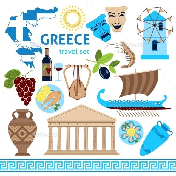 Greece Symbols Touristic Set Flat Composition - Travel Conceptual