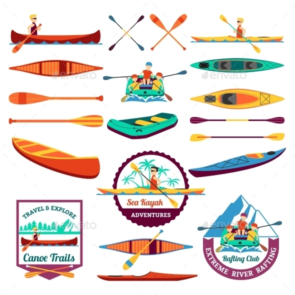 Rafting Canoeing And Kayak Elements Set  - Sports/Activity Conceptual