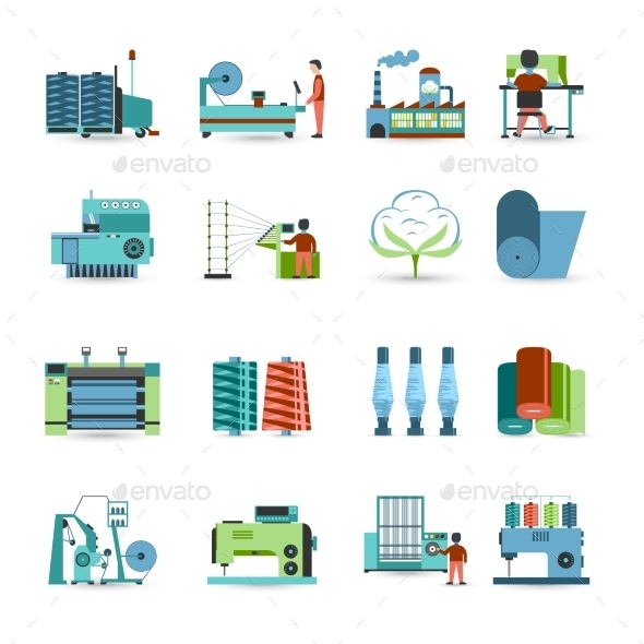 Textile Mill Flat Icons Set  - Industries Business