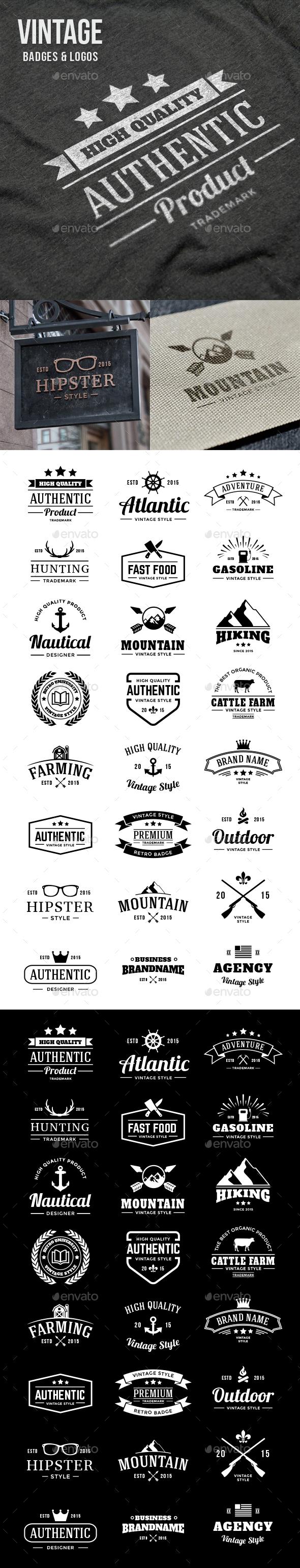 24 Vintage Badges - Badges & Stickers Web Elements