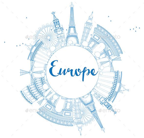 Famous Landmarks in Europe. Outline Vector Illustration. - Buildings Objects