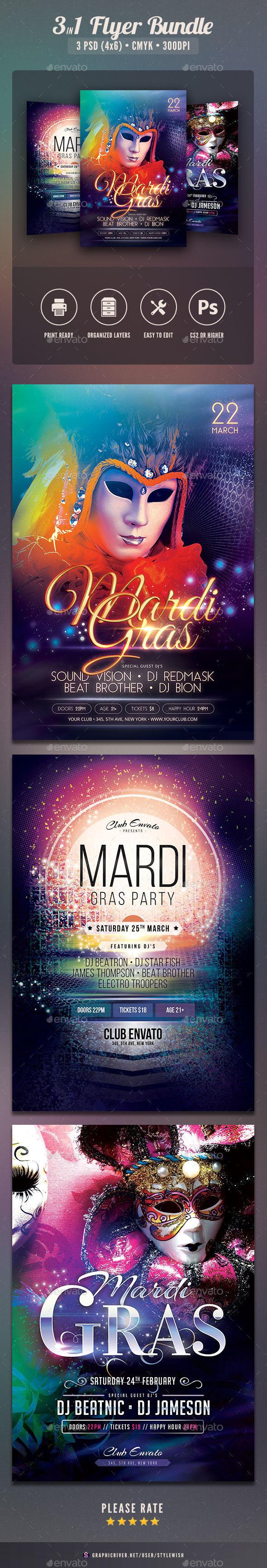 Mardi Gras Flyer Bundle - Clubs & Parties Events