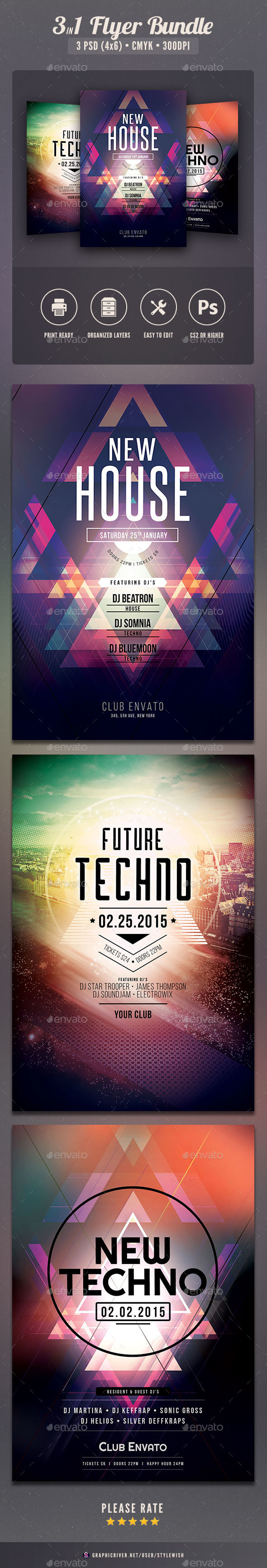 Techno Flyer Bundle - Clubs & Parties Events