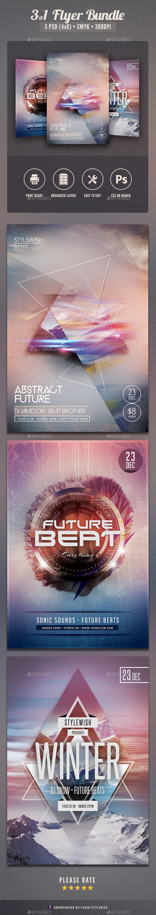 Futuristic Flyer Bundle - Clubs & Parties Events