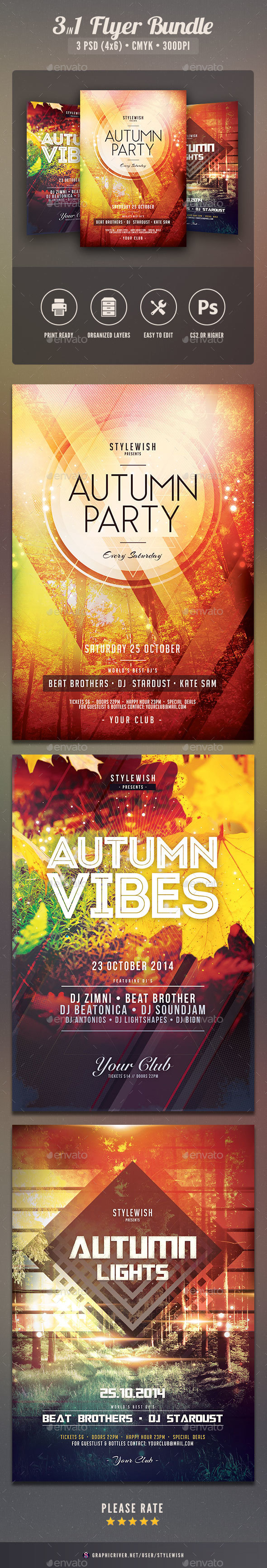 Autumn Flyer Bundle - Clubs & Parties Events