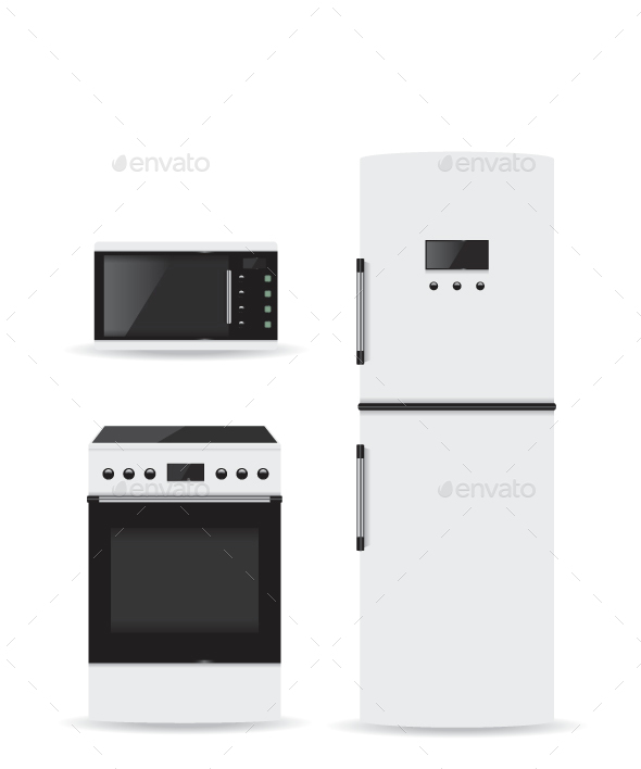 Set of Household Appliances Microwave Refrigerator and Stove - Technology Conceptual