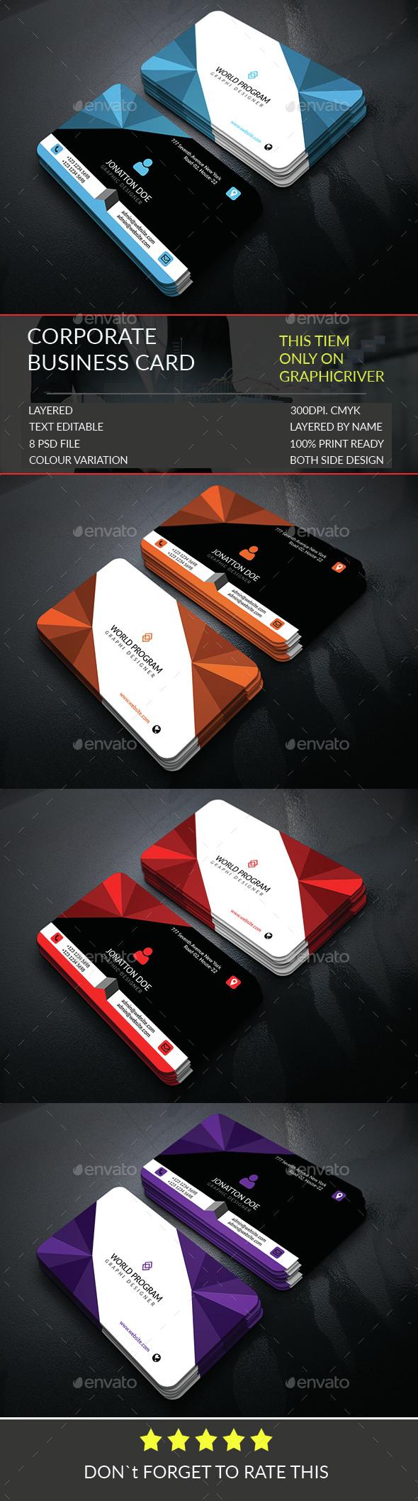 Corporate Business Card Template.242 - Corporate Business Cards